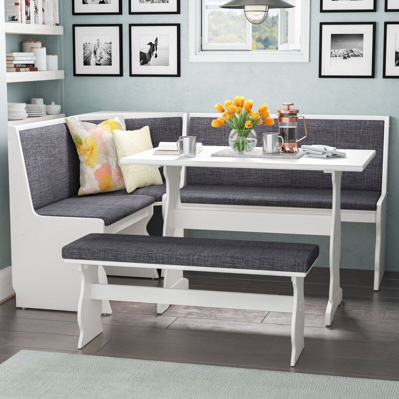Nook Dining Room Set: 3 Pc Gray White Top Breakfast Nook Dining Set Corner Booth
