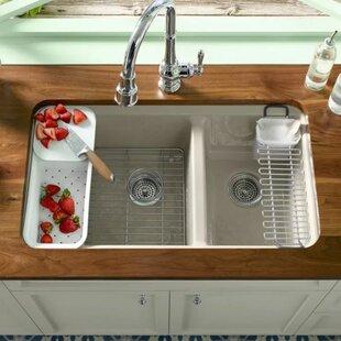 Kohler kitchen sink protectors wayfair riverby 33 x 22 double basin undermount kitchen sink by kohler workwithnaturefo