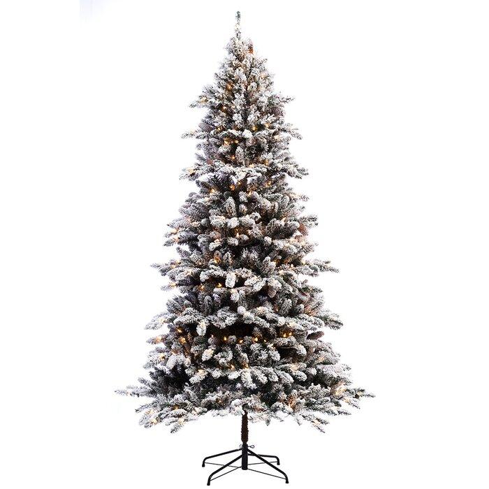 The Holiday Aisle Pre-lit Flocked 7.5' Bennington Fir Artificial ...