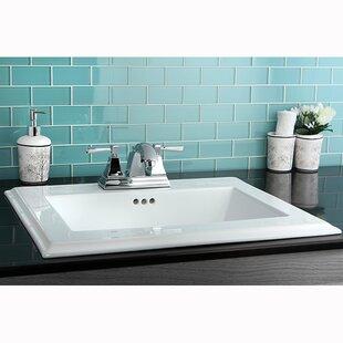 Kingston Brass Concord Ceramic Rectangular Drop-In Bathroom Sink with Overflow