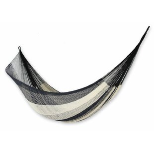 Trinity Portable Double Person Striped Midnight Riviera Hand-Woven Artists of the Yucatan Nylon with Hanging Accessories Included Indoor And Outdoor Hammock