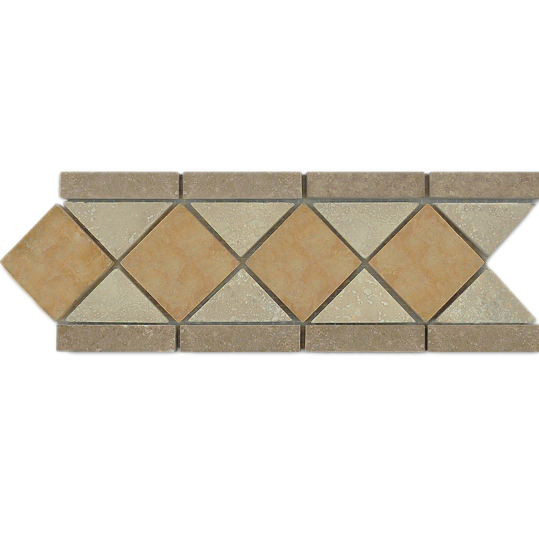 Travertine Noce Chiaro Border Tile