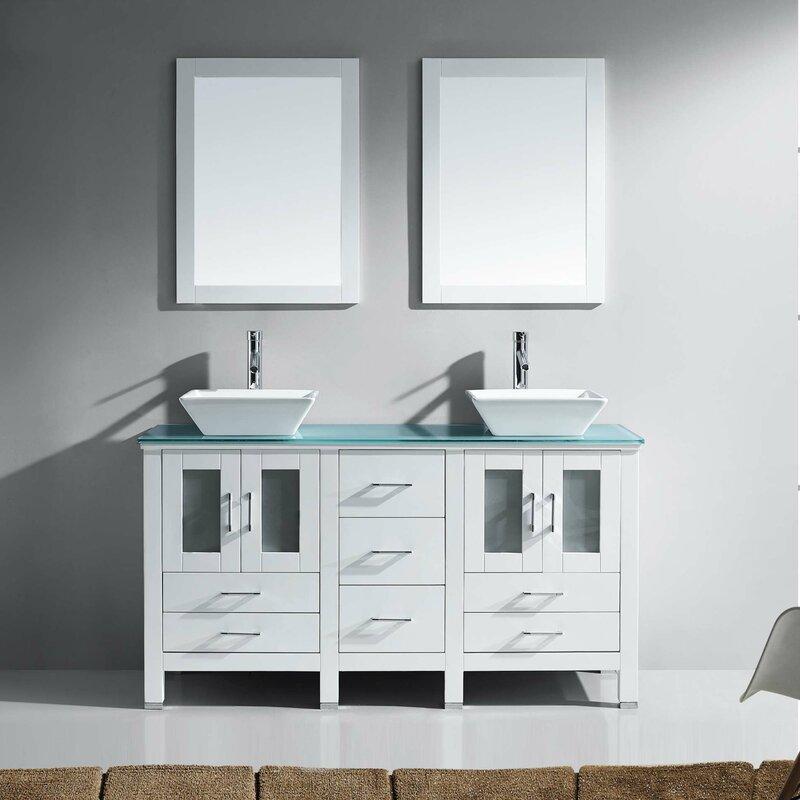 """Bathroom Vanity Glass virtu usa brentford series 60"""" double bathroom vanity set with"""