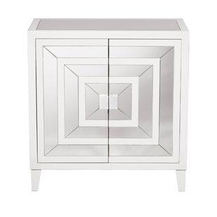 Willa Arlo Interiors Square Mirror Overlay 2 Door Accent Cabinet