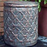 Jeri Outdoor Basket Weave Side Table