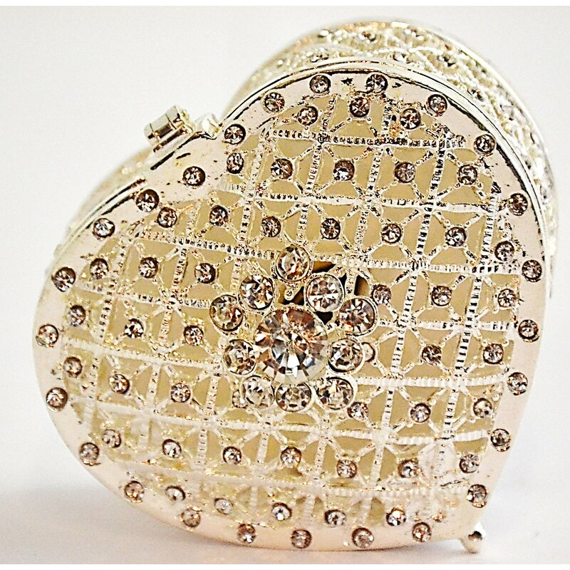 Ciel Collectables Plated Heart Trinket Box With Swarovski Crystals Wayfair