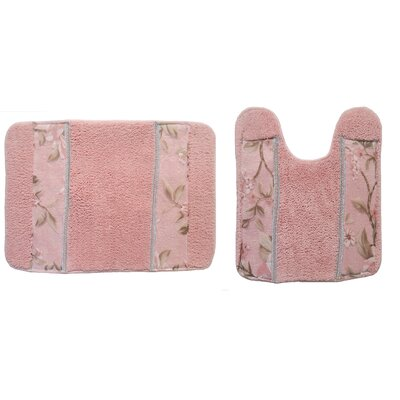Lark Manor Lys 2 Piece Bath Rug Set Colour: Pink
