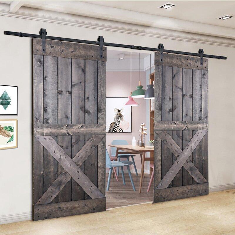 Akicon Paneled Wood Painted Barn Door With Installation Hardware Kit Wayfair
