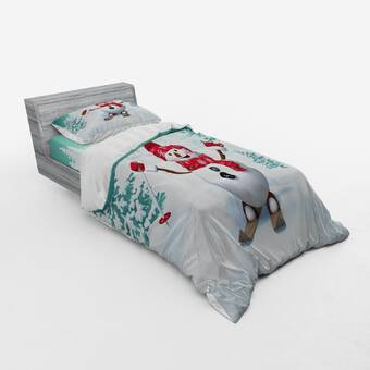 East Urban Home Santa In Sleigh With Reindeer And Toys In Snowy North Pole Tale Fantasy Image Duvet Cover Set Wayfair
