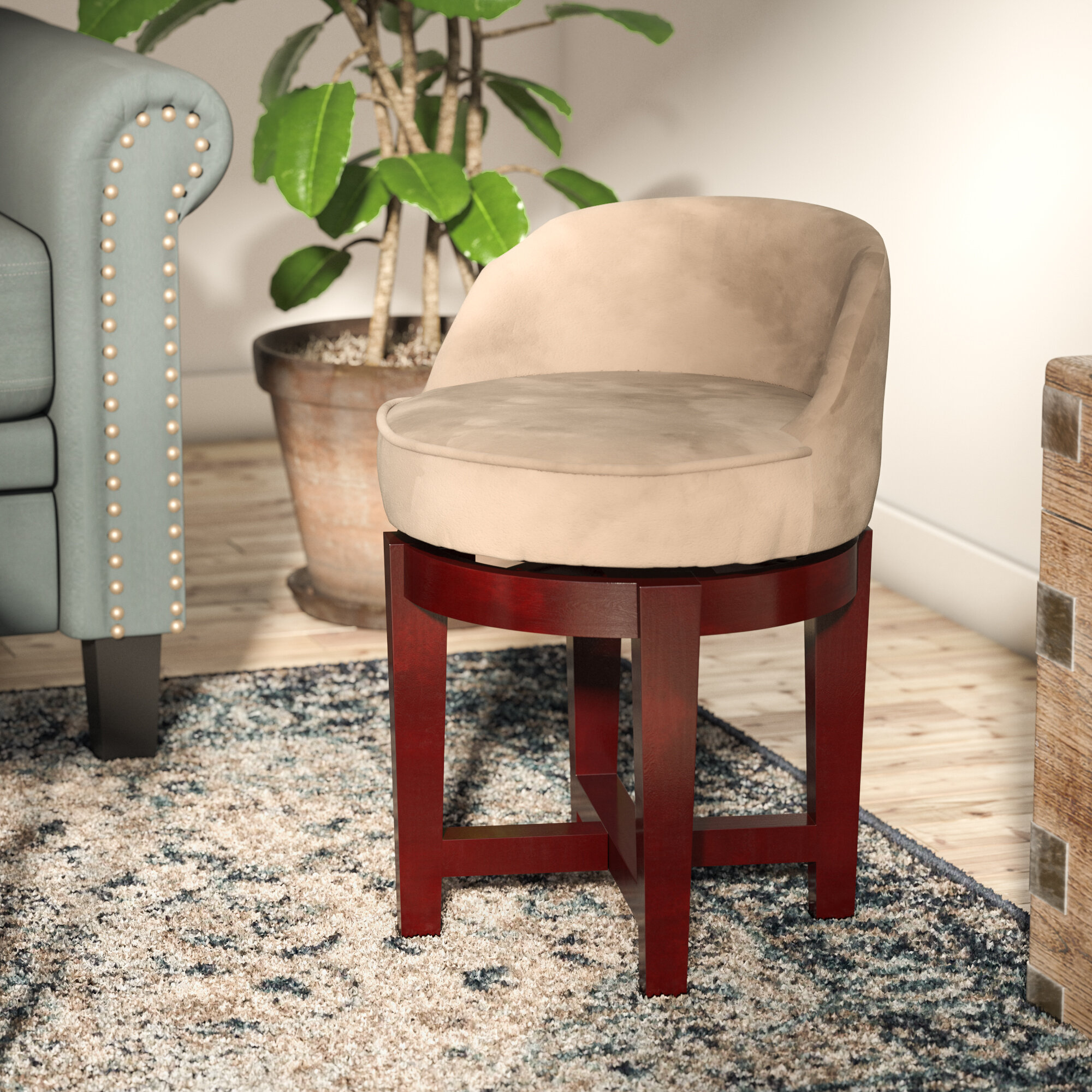 Winston Porter Stults Swivel Solid Wood Vanity Stool Reviews Wayfair