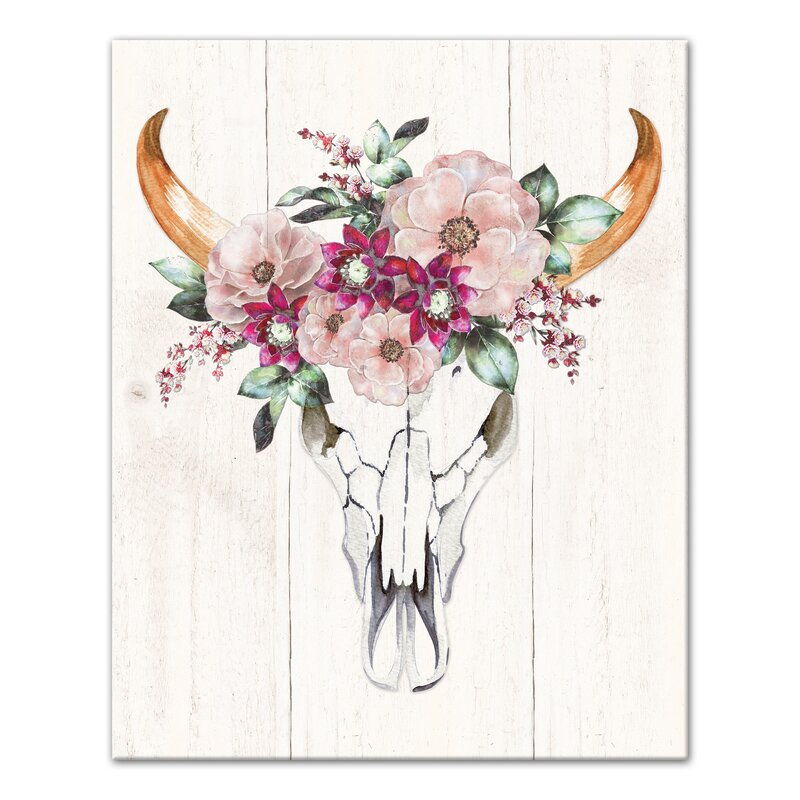 Bungalow Rose Cow Skull With Flowers Watercolor Painting Print On