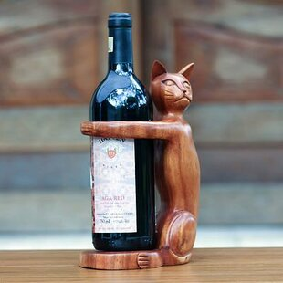 Hand Carved Wooden Cat 1 Bottle Tabletop ..