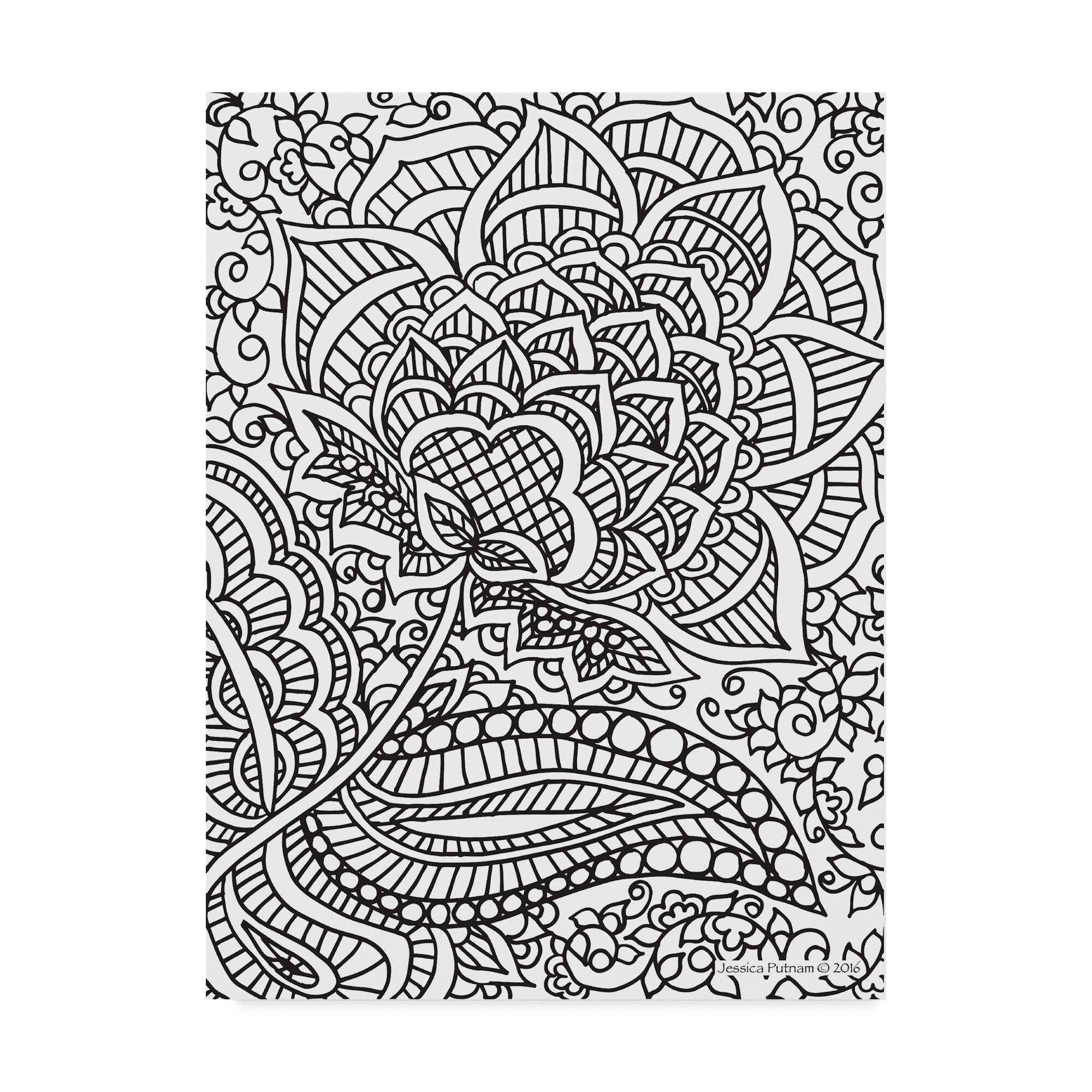Trademark Art Floral Patterns 5 Drawing Print On Wrapped Canvas