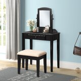 Solid Wood Vanity Set with Stool and Mirror by Red Barrel Studio®