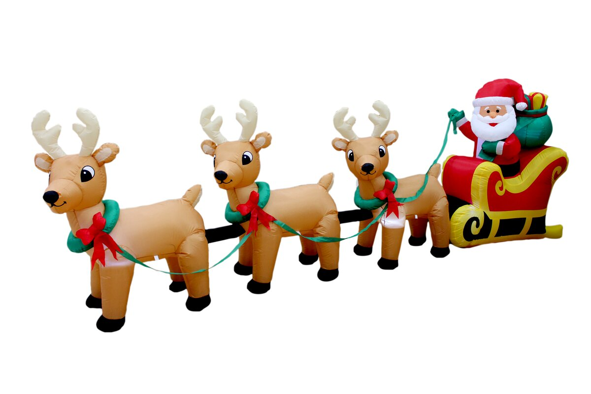 Christmas Inflatable On Sleigh With Three Reindeer Decoration