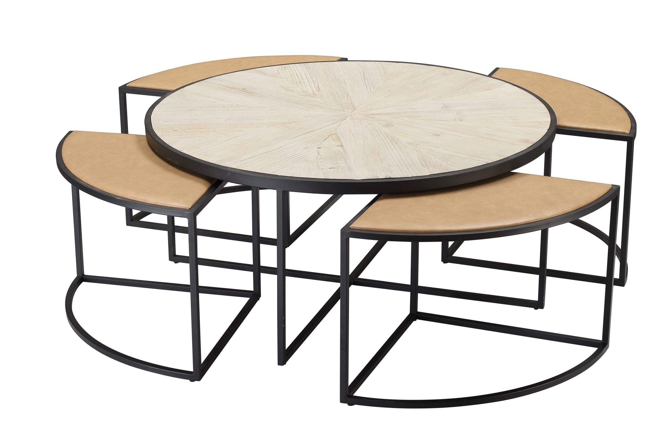 Latitude Run Deeley Coffee Table With 4 Nested Stools Wayfair