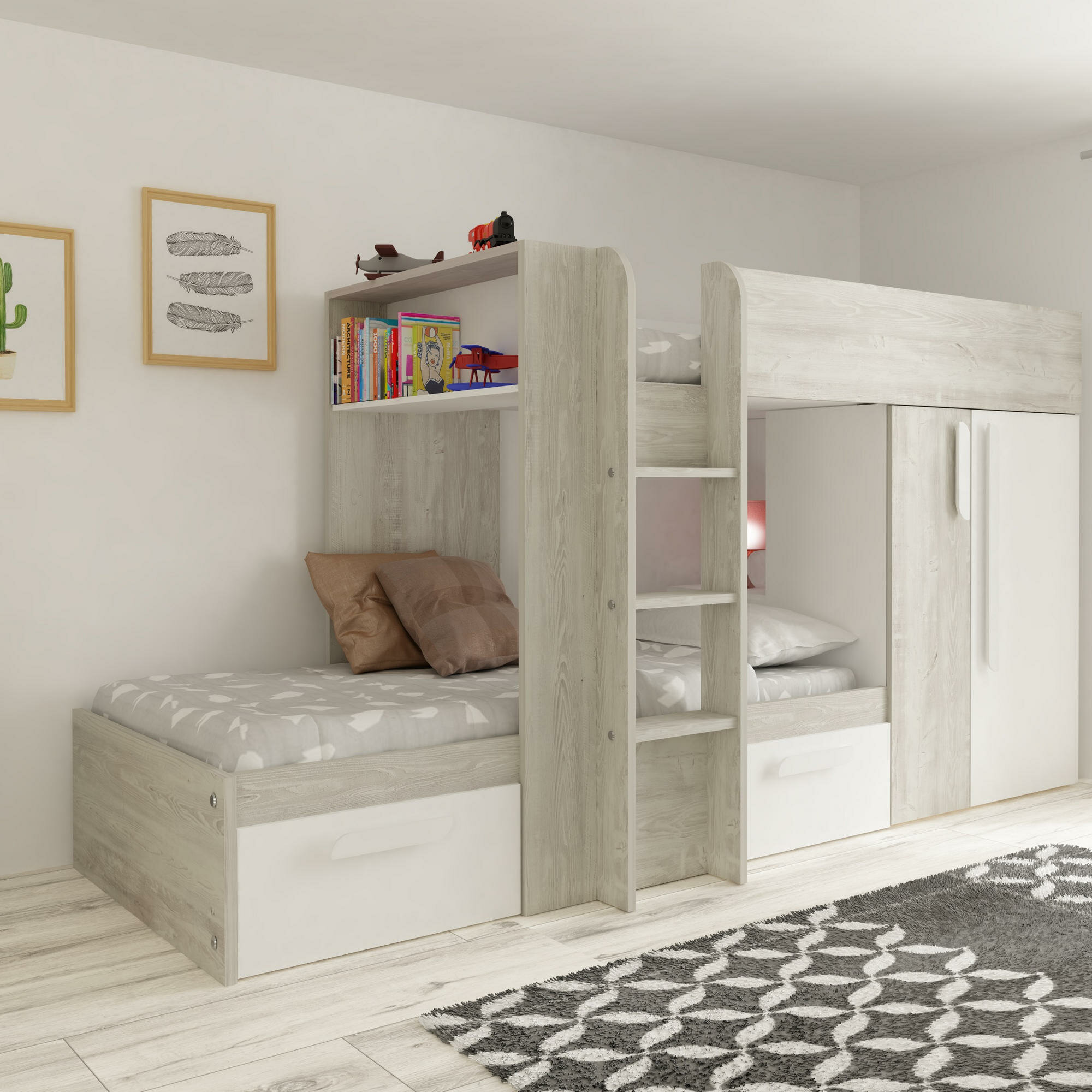 Aidan European Single High Sleeper Bed With Drawers