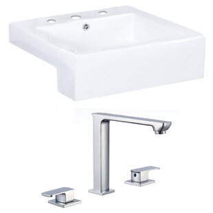 Online Reviews Ceramic Square Vessel Bathroom Sink with Faucet and Overflow By American Imaginations