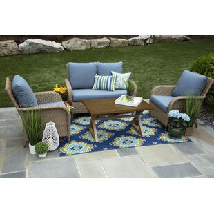 Bogdanovic 4 Piece Sunbrella Sofa Set with Cushions (Set of 4)