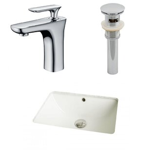 Price comparison Ceramic Rectangular Undermount Bathroom Sink with Faucet and Overflow ByAmerican Imaginations