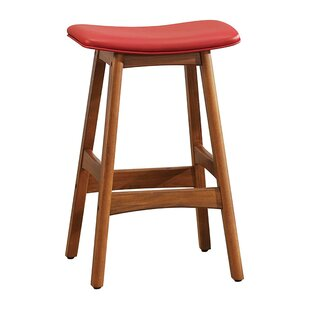 Gafford Contemporary Leather Upholstered Wooden Bar Stool Millwood Pines