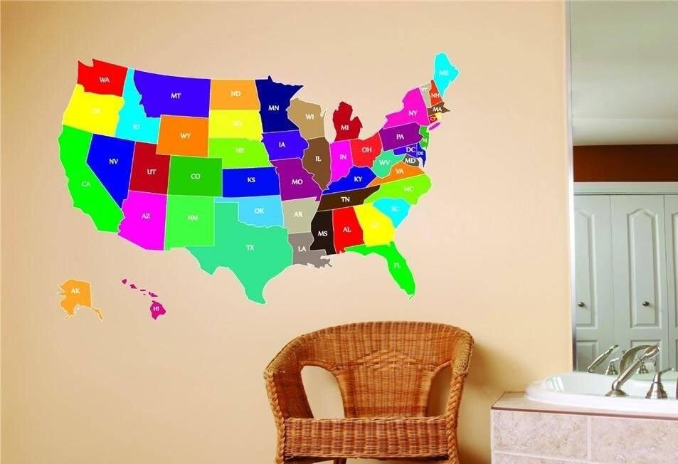 Design With Vinyl United States Map Wall Decal Reviews Wayfair - Us map wall decal