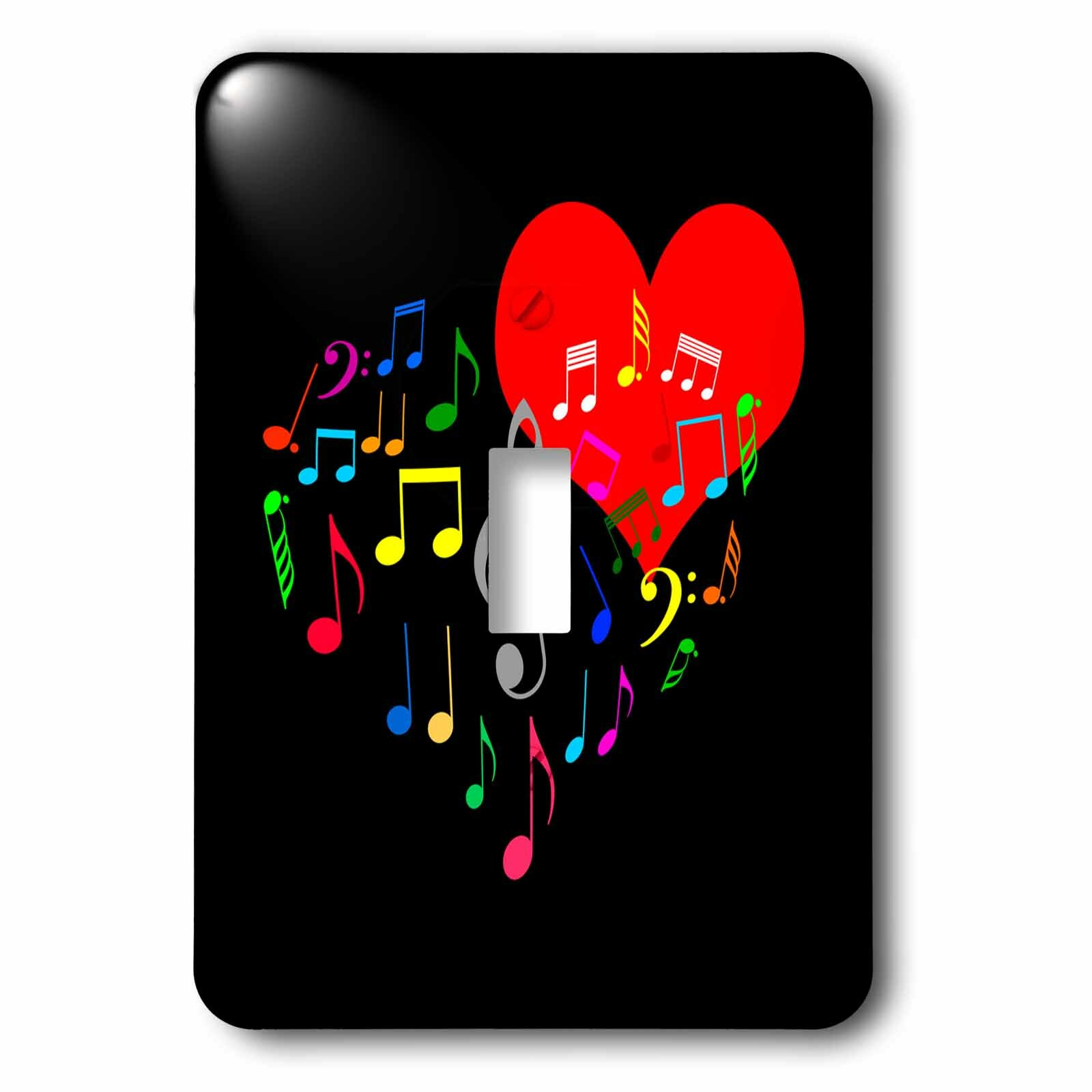 3drose Heart And Music Notes 1 Gang Toggle Light Switch Wall Plate Wayfair