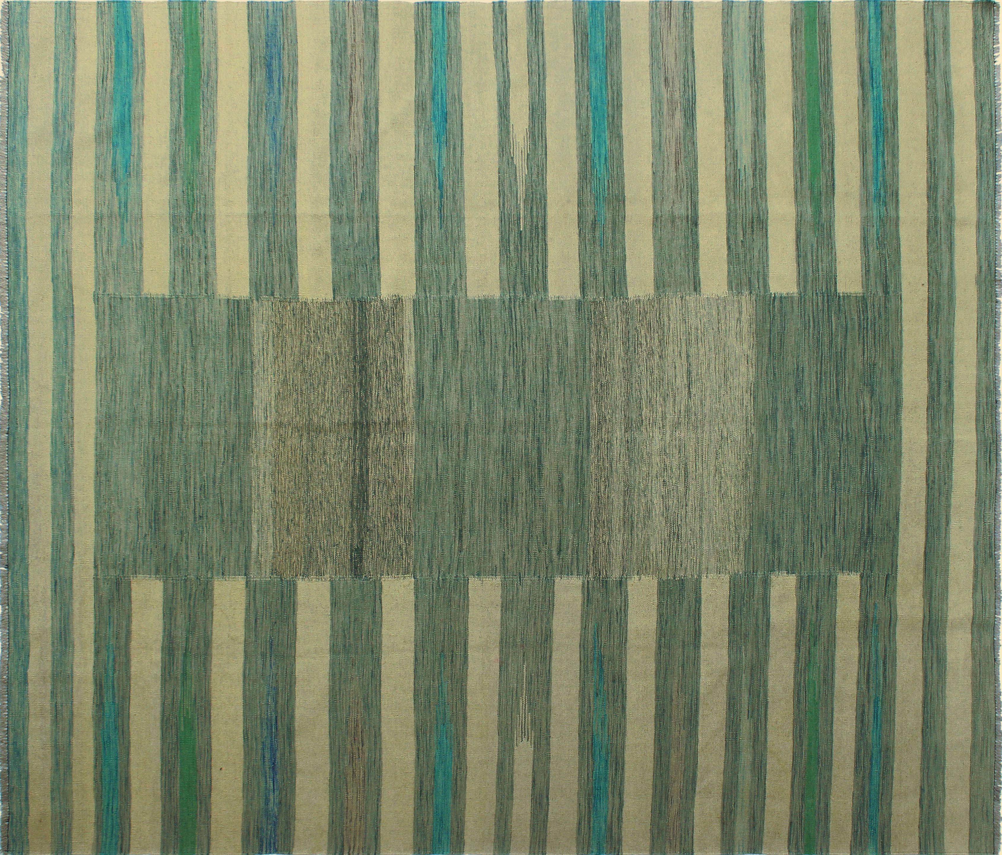 Latitude Run Ames Striped Handmade Kilim Wool Gray Area Rug Wayfair