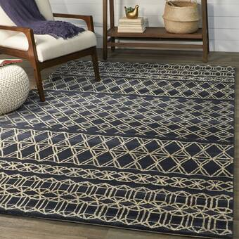 Union Rustic Boudreaux Abstract Navy Area Rug Reviews Wayfair