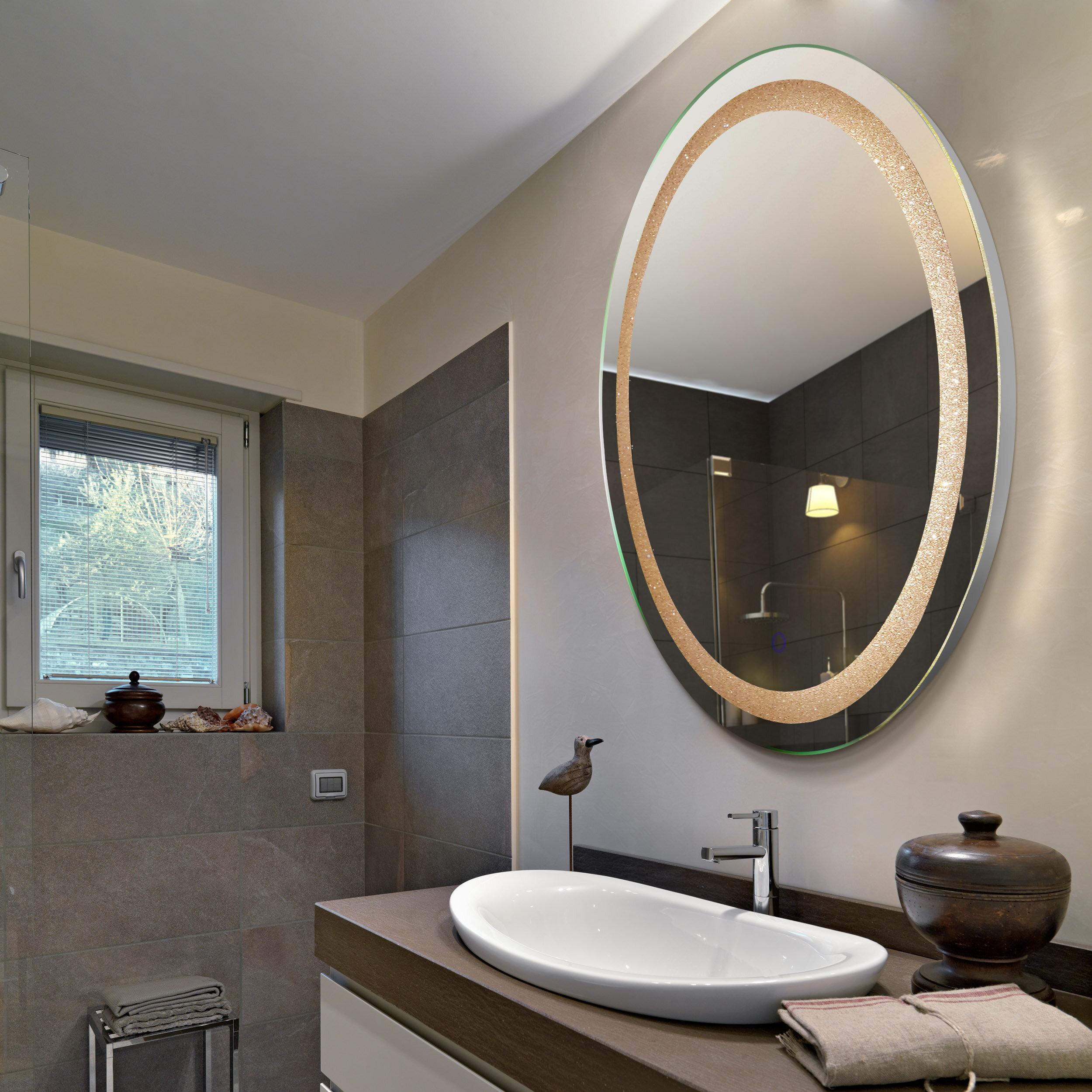 Hilton Crystal Oval Backlit LED Lighted Bathroom Mirror