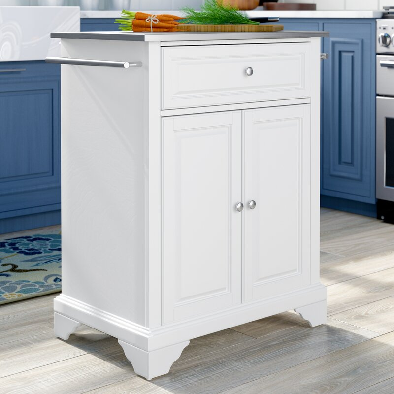 Abbate Kitchen Cart With Stainless Steel Top