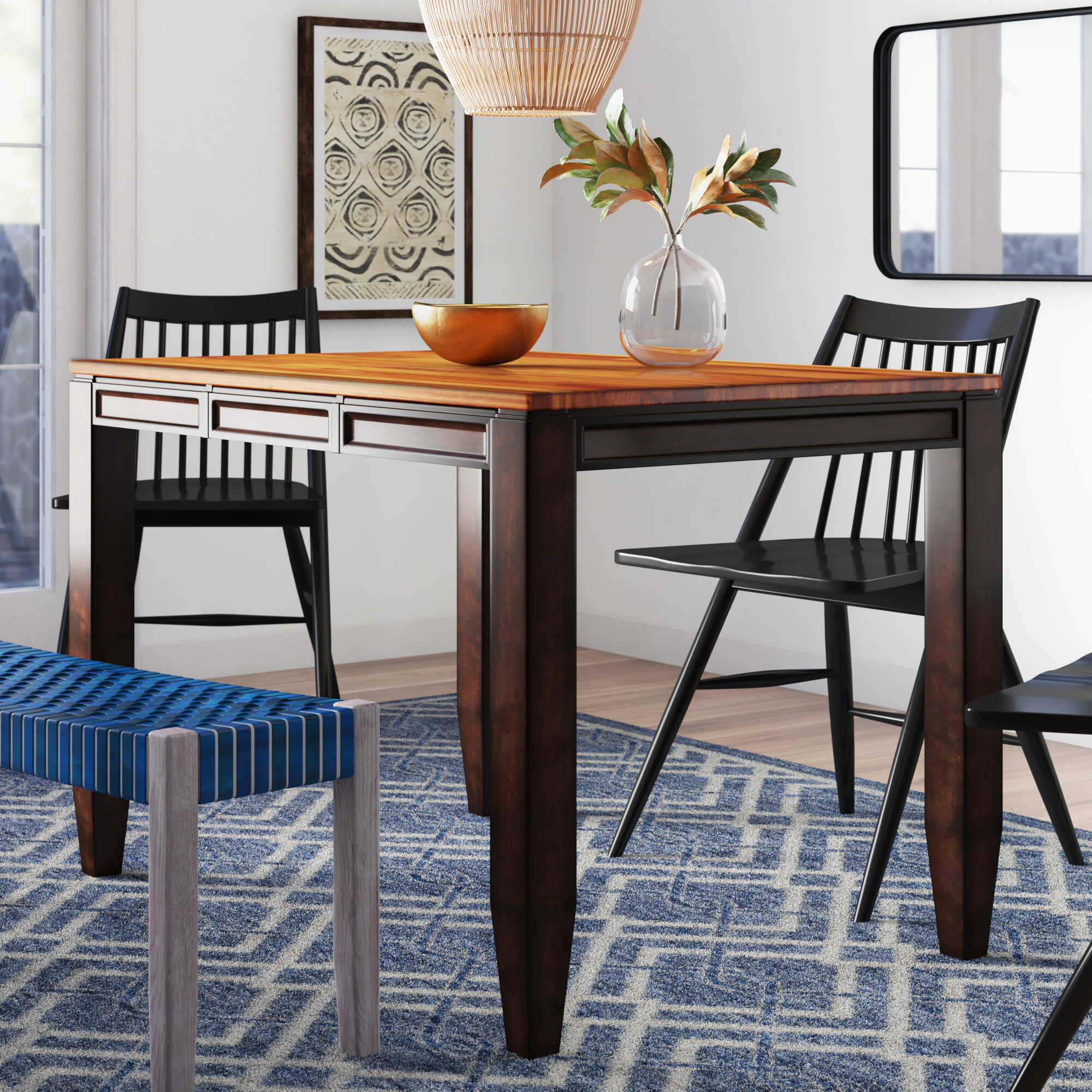 Millwood Pines Hidalgo Extendable Butterfly Leaf Acacia Solid Wood Dining Table Reviews Wayfair Ca