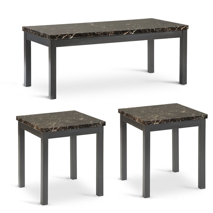 Peachy Quezada Faux Marble 3 Piece Coffee Table Set Caraccident5 Cool Chair Designs And Ideas Caraccident5Info