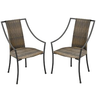 Sessums Slope Patio Dining Chair with Cushion (Set of 2)