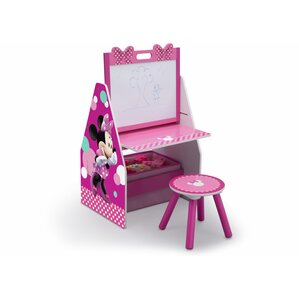 Disney Minnie Mouse 20� Art Desk with Stool and Toy Organizer by Delta Children