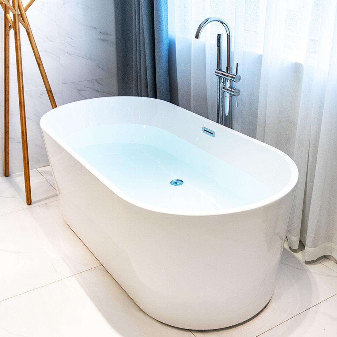 Picture of: Kdk Home 55 X 28 Freestanding Soaking Bathtub Reviews Wayfair