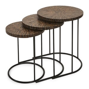 Hoki 3 Piece Coco Shell Tables Set by IMAX