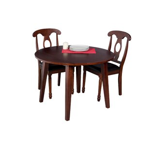 Dinh Modern 3 Piece Extendable Solid Wood Dining Set