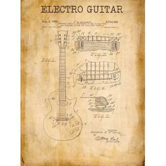 Epic Graffiti Mccarty Gibson Les Paul Guitar Vintage Patent