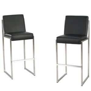 White Leather Barstools modern leather bar stools + counter stools | allmodern