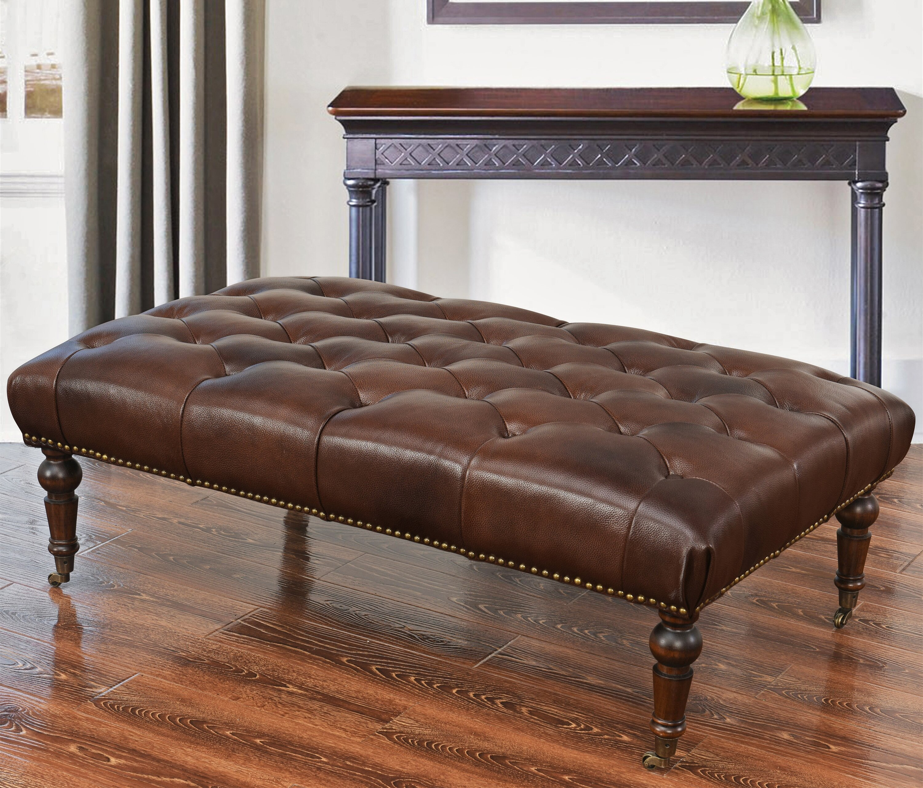 w ottoman michael collections leg lss item ashley cocktail wood legs high s ottomans yvette steel warehouse furniture
