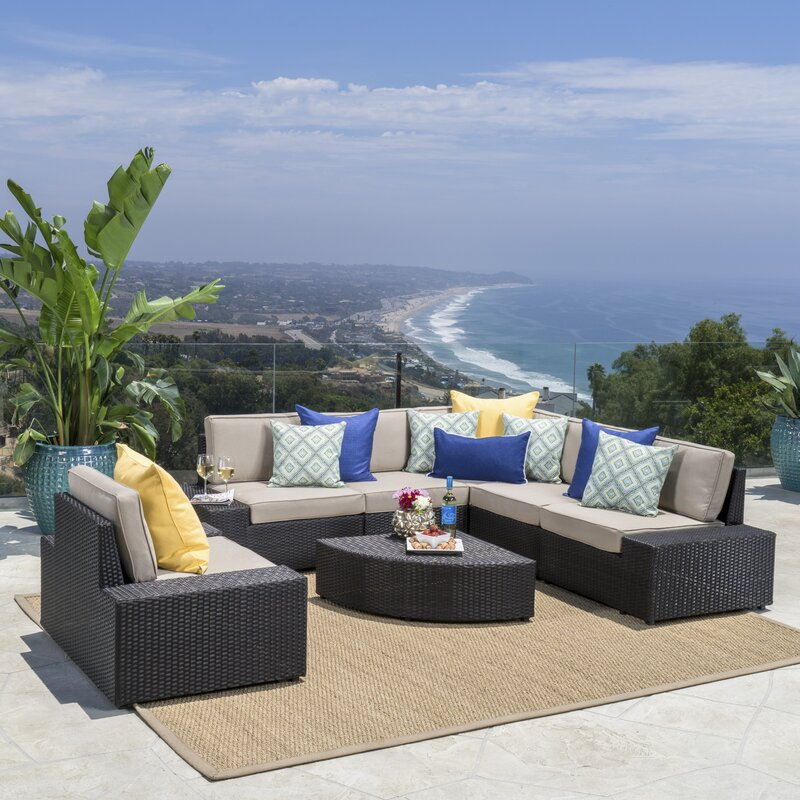 Joss & Main Mountview 7 Piece Rattan Conversation Set with Cushions