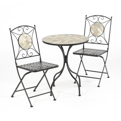 Emblyn Mosiac Tile 3 Piece Bistro Set by Fleur De Lis Living New