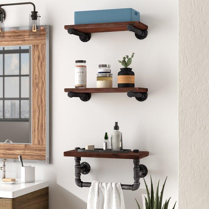 Walnut Wood Floating 3 Piece Wall Shelf Set