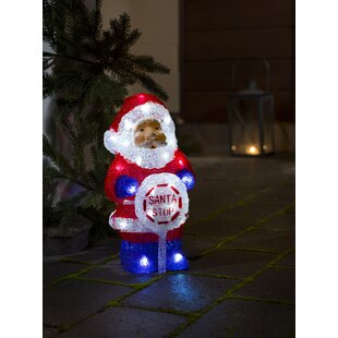 Santa With Sign Lighted Display Image