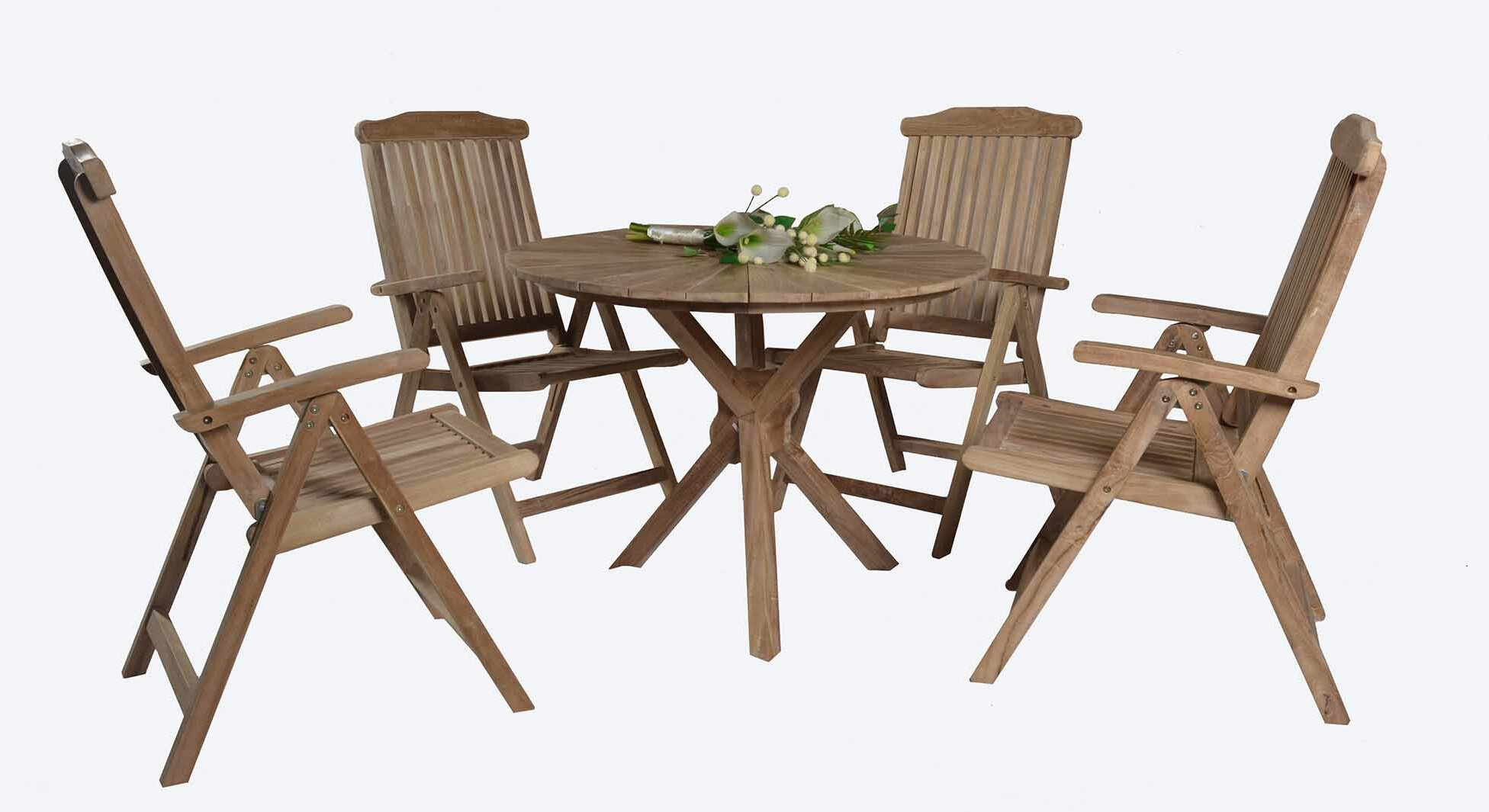 Rosecliff heights silverlock 5 piece teak dining set wayfair