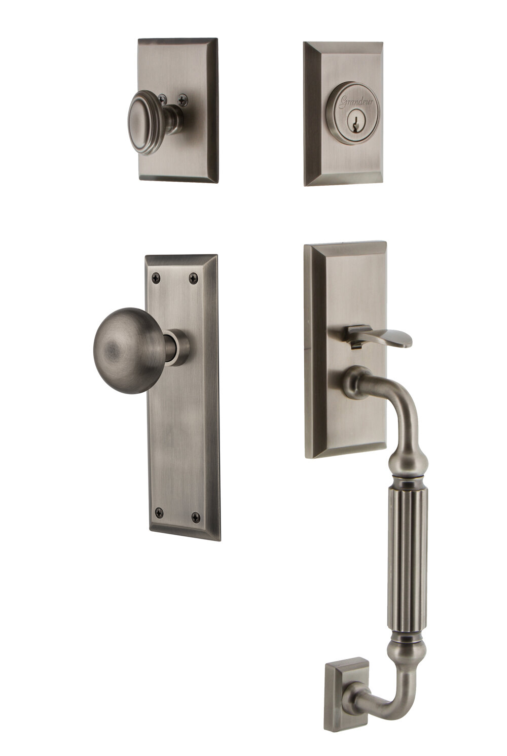 Grandeur Fifth Avenue Handleset With Single Cylinder Deadbolt And Door Knob And Rosette Wayfair