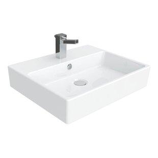 WS Bath Collections Simple Ceramic Ceramic Rectangular Vessel Bathroom Sink with Overflow