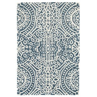 Check Prices Temple Hand Hooked Wool Blue/White Area Rug By Dash and Albert Rugs