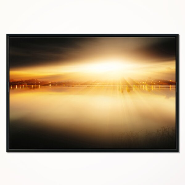 East Urban Home Sunset With Views On The Lake Framed Graphic Art Print On Wrapped Canvas Wayfair
